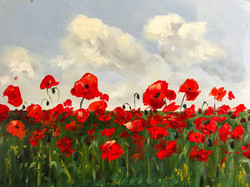 Poppies in Sussex 30x40cm oil on MDF £150