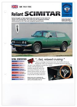 Info blad Sports Cars Nr 63 Reliant Scim