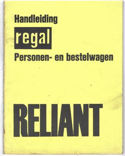 Reliant Regal personen en bestel wagen handleiding NL