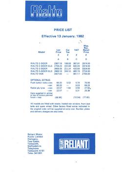 Rialto prijslijst 1982
