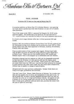 Reliant SST press release 1991