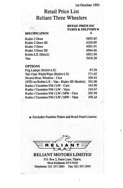 Prijslijst Rialto & Robin 1991