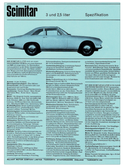 Brochure Reliant Scimitar Coupe Duitse s