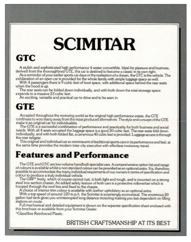 Scimitar GTE GTC bureau vouwfolder