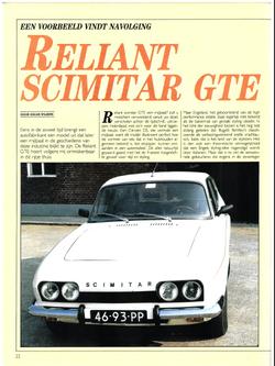 Reliant Scimitar GTE Auto Motor Klassiek 1987