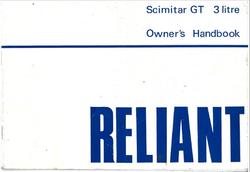 Scimitar GT 3 Litre Owner's Handbook