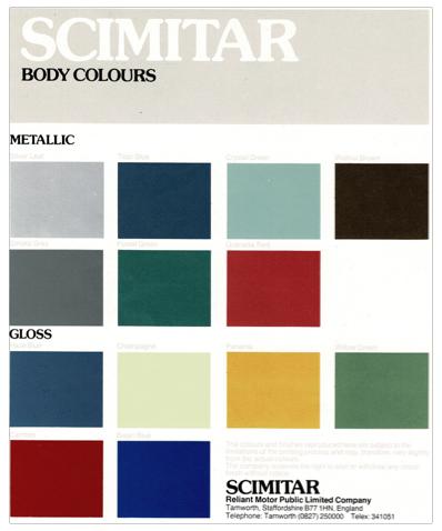 Brochure Reliant Scimitar GTE & GTC body colours 1985