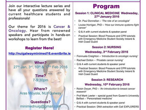 NUIG Mini Med School Jan/Feb 2016