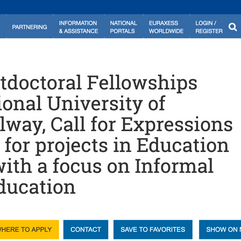 Call for expressions of interest for MSCA Postdoctoral Fellowships 2021