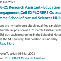 We are recruiting a research assistant in education and public engagement