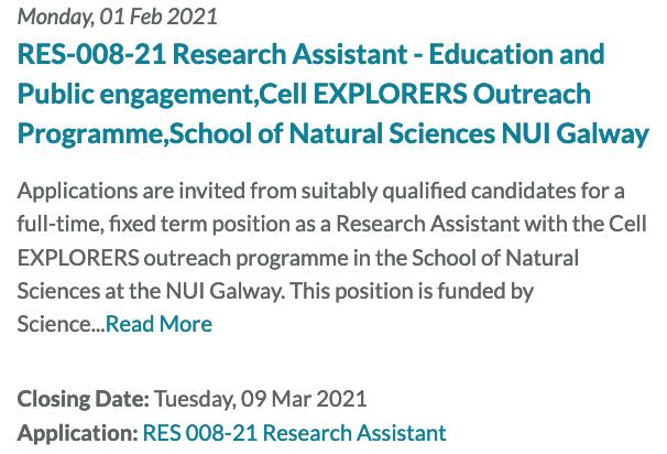 RES-008-21 Research assistant public engagement post - March 9th deadline