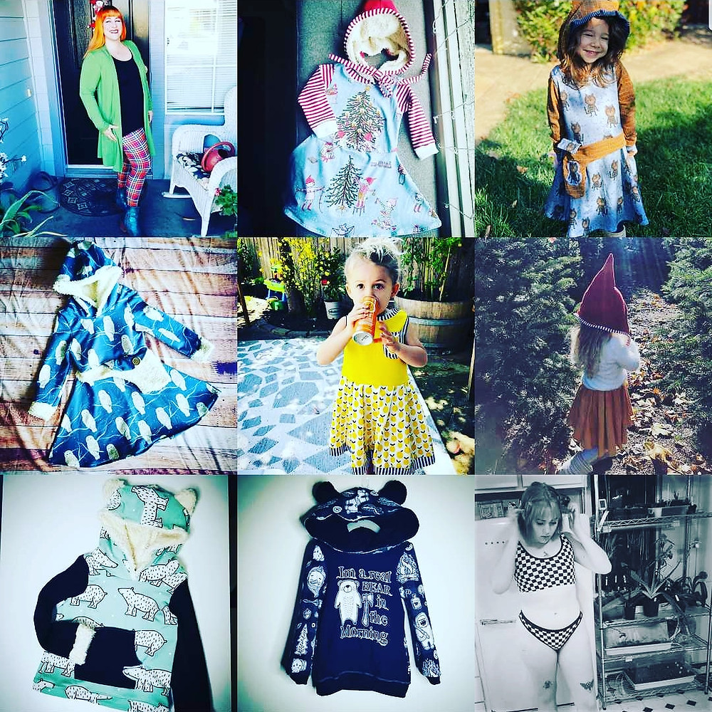 collection of images showing bright colored and patterned clothing pieces some items are worn by children