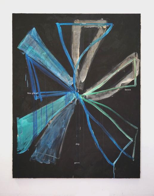 Blue green blue drip, 2020, 180x140cm,
