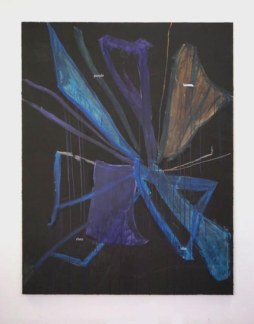 Purple brown river blue, 2020, 180x140