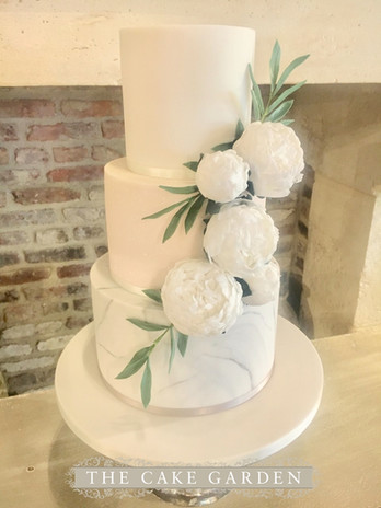 Marble and pinks with white sugar peonies
