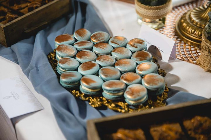 French Blue and Copper Macaron