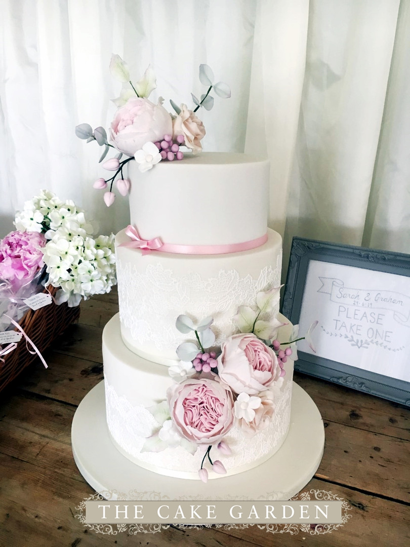 3 tier summer garden with sugar flowers