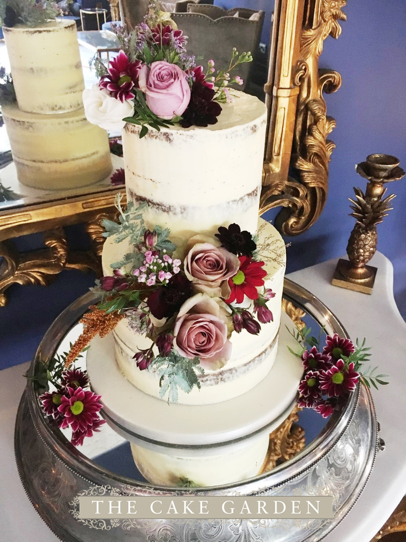 2 tier taller semi skimmed with fresh flowers