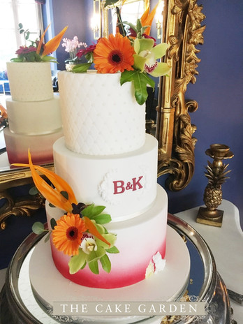 Airbrushed Tropical ice cake with monogram