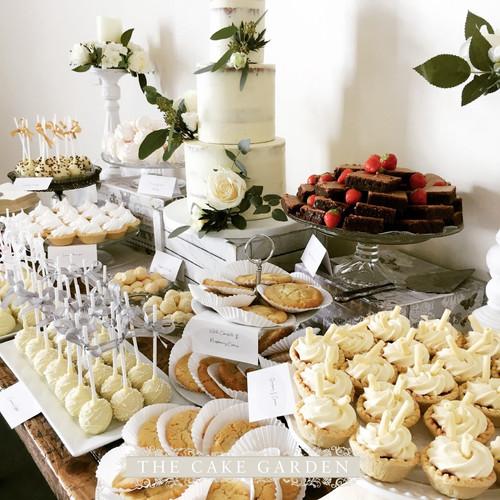 Semi Skimmed wedding cake and dessert table