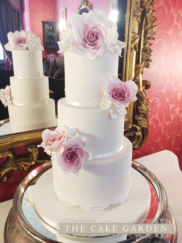 3 Tier Tiffany Lace with sugar roses