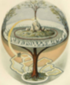 A depiction of Yggdrasil, the world tree from the Norse tradition, and an example of axis mundi.