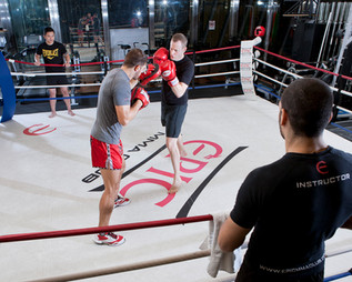 Philip Eisenbeiss spars with his Serbian kickboxing trainer, Saso Popovic, at the EPIC Club in Hong Kong. Mr. Eisenbeiss is one of the most highly regarded headhunters in the city and a partner at Executive Access, the largest Asian headhunting firm specialized in the financial and legal industries. Hong Kong
