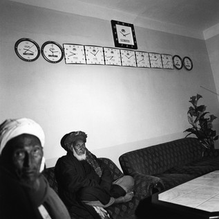 Dostum's waiting room. In his quest to appear more politician than warlord, Dostum has furnished this room with wall clocks designed to show the time in different time zones, as it is done in international hotels and airports. Unfortunately there is no indication of the place to which each clock refers, and the time setting itself is completely random.