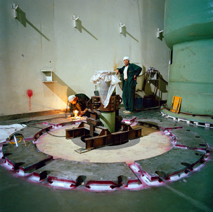 In the Bushehr nuclear facility in the southwest of Iran, Russian employees work on the main reactor. Iran, Bushehr, June 2005.