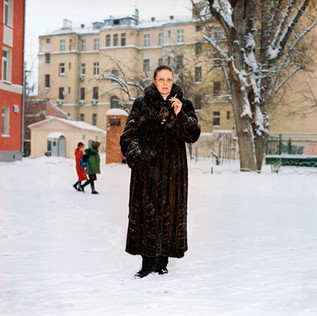 Alexandra Marinina, 49, is a former detective and lieutenant-colonel in Russia's police force and is Russia's most read novelist.  She has written thirty detective novels in the last thirteen years and bears a close resemblance to her heroine, Anastasia Kamenskaya, the only difference being that Anastasia is one dress size slimmer and has a driving licence.  Photographed here in front of her office.