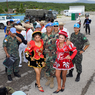 Open house organized by the United Nations Stabilization Mission in Haiti (the Minustah). The different contingents parade in their traditional dress. Port-au-Prince.