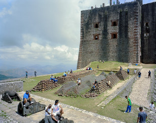 The Laferrière Citadel, the largest fortress in the Americas, built by King Henri Christophe between 1805 and 1820 to fend off a colonial attack that never happened. On the esplanade is a battalion of Nepalese UN Peacekeepers. Milot. Haiti 2013