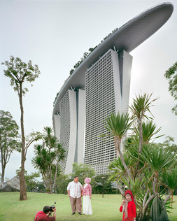 Naval El Farveisa, 29, and his bride-to-be pose for their pre-wedding photos in front of the Marina Bay Sands Hotel that hosts one of the world's biggest Casinos. Mr. El Farveisa is a Jakarta-based architect who regularly works in Singapore. Pre-wedding photo shoots are common for Indonesians. Singapore