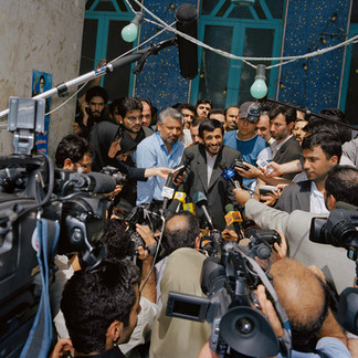 Ahmadinejad addressing the press shortly after he has cast his vote in the second round of elections that will bring him unexpectedly to be the sixth president of Iran. Iran, Tehran, July 2005.