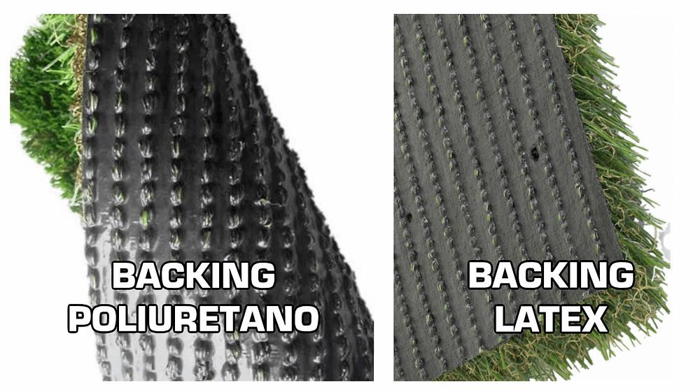 Backing con revstimiento de poliuretano y con látex