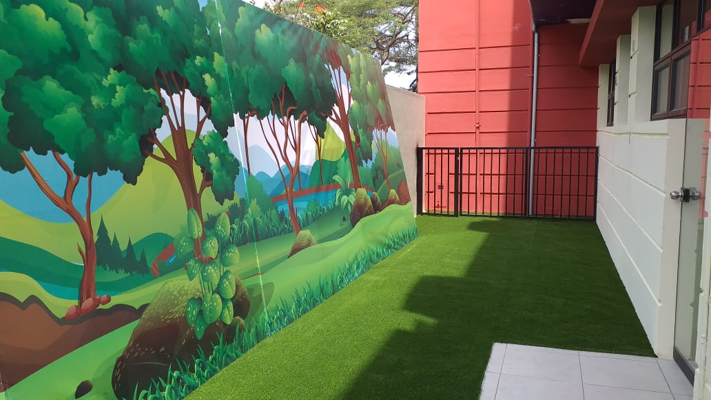 Grass sintetico decorativo, área de ocio