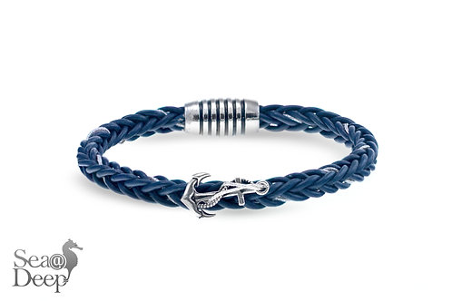 Silver Anchor - Blue Leather