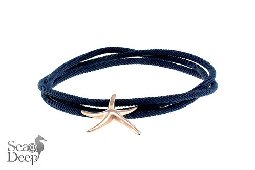 Silver Starfish - Dark Blue Rope