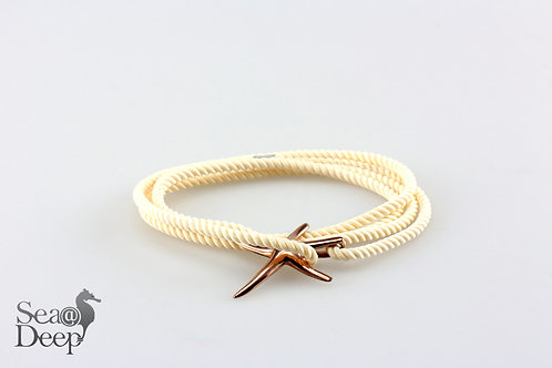 Silver Starfish - Pearl White Rope