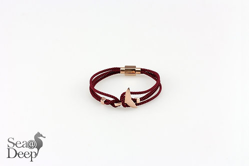 Silver Whale Tail Red Brown Rope