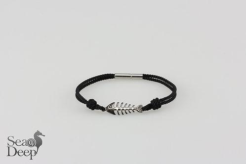 Silver Fish Black Rope