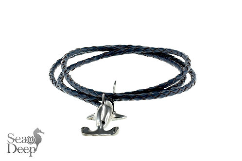 Silver Shark- Black Leather Rope