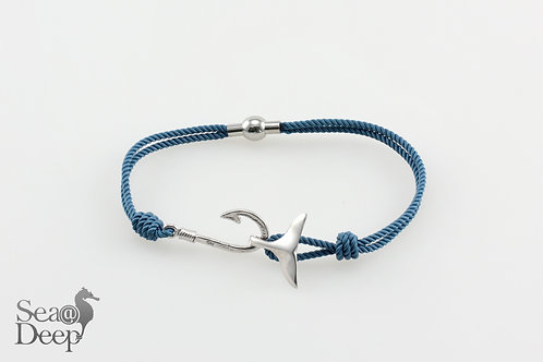 Silver Hook & Whale Tale - Blue Rope