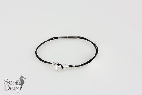 Silver Anchor -Black Rope