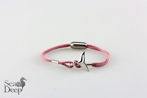 Silver Whale Tail Pink Rope
