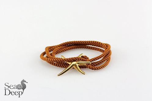 Silver Starfish - Brown Rope