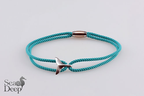Silver Whale Tail Turquoise Rope