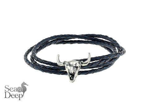 Bull Skull - Black Leather