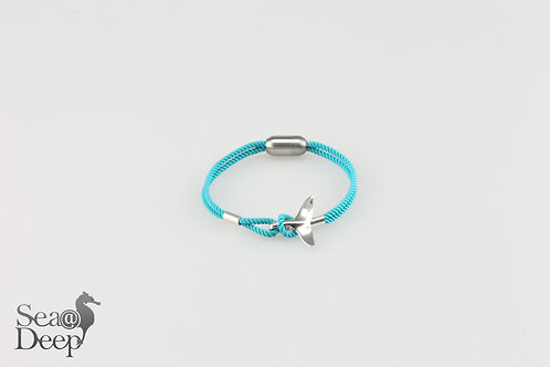 Silver Whale Tail Blue Rope