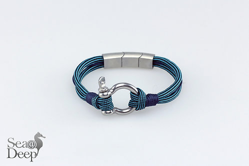 Silver Shackle Blue Rope